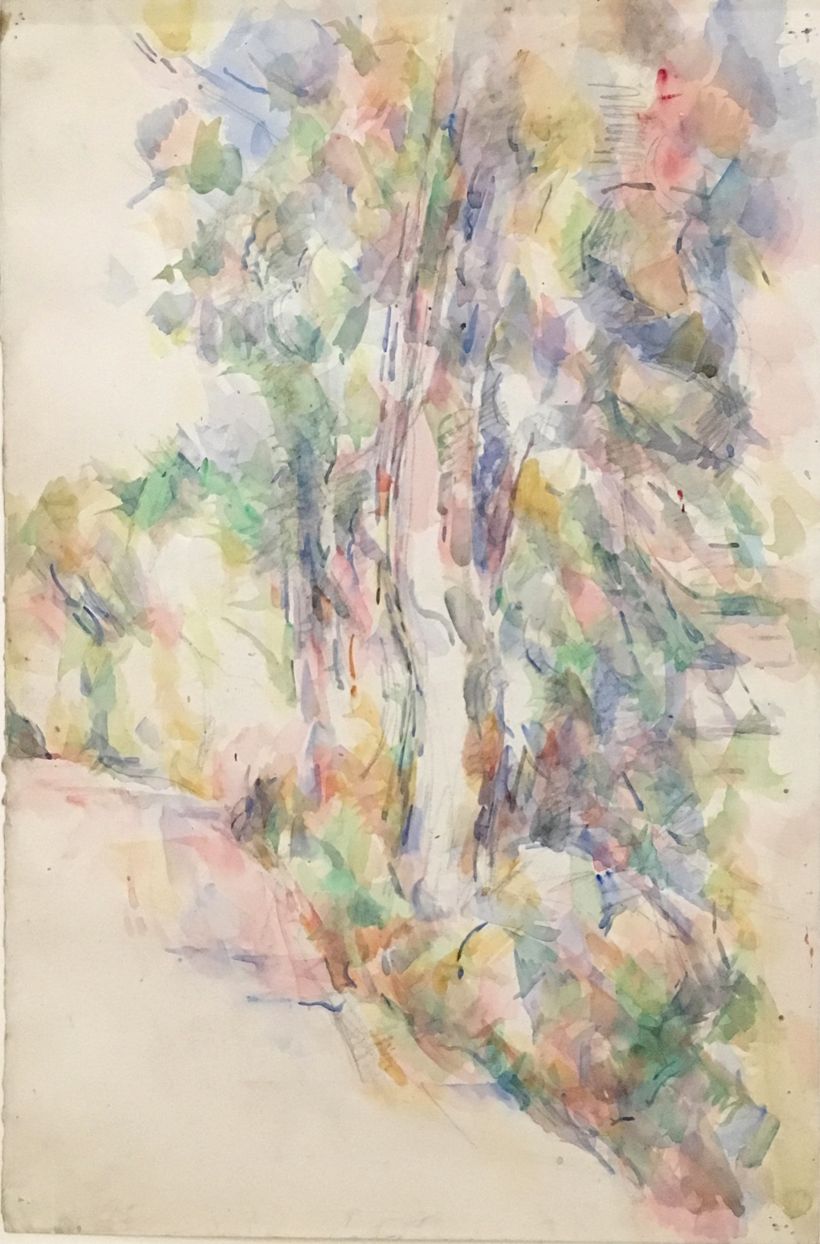 Road with Trees on an Embankment, c. 1904, pencil and watercolour on paper, P. Cézanne, Fondation Beyeler, Basel