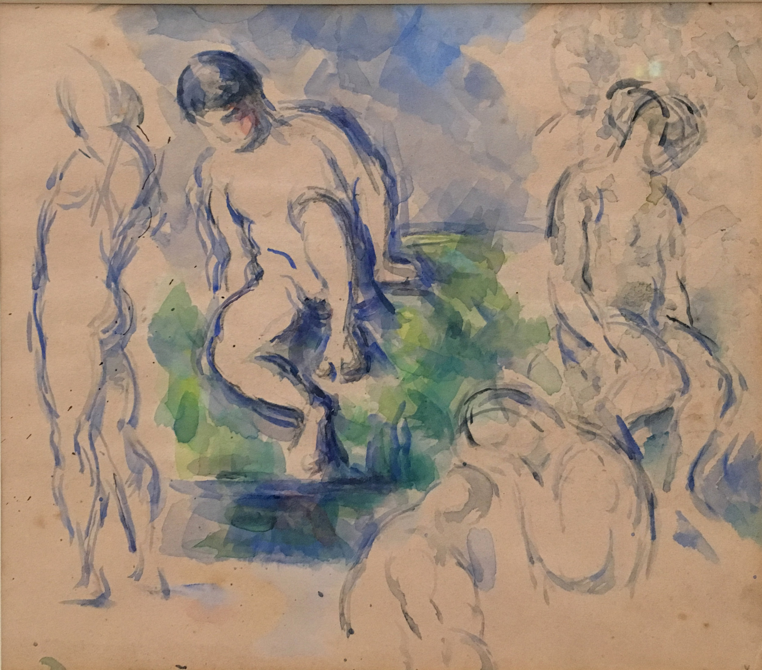 Bathers, 1890, Penciil and Watercolour on paper, P. Cézanne, Metropolitan Museum of Art, New York