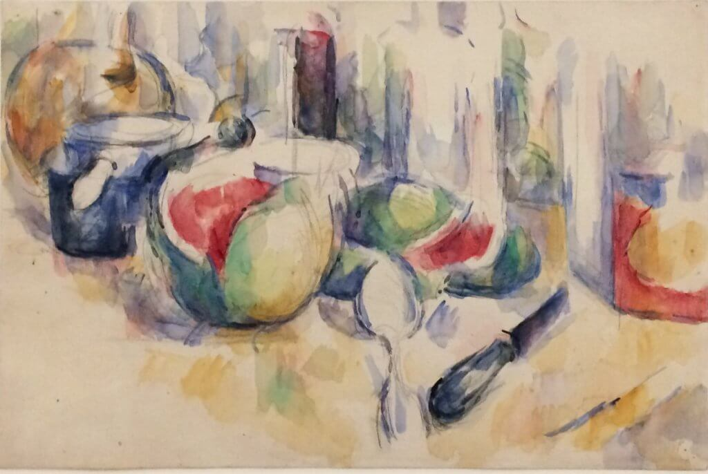 Still life with sliced watermelon, 1900, watercolour and pencil on paper, P. Cézanne, Fondation Beyeler, Basel