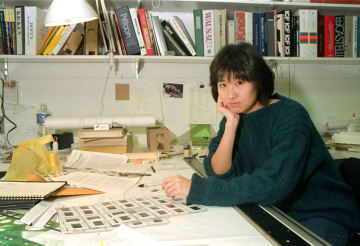 Maya Lin, then only a 28-year-old architect, pauses in her New York office in 1987.