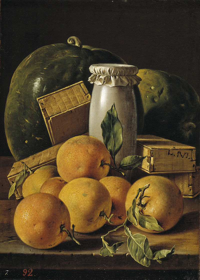 Still Life with Oranges and Watermelon , c. 1760,  Luis Melendez, c. 1760  (Image courtesy of the Prado Museum)