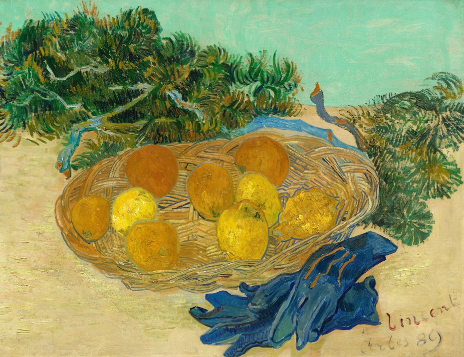 Still Life with Oranges,, Lemons and Blue Gloves,  Vincent Van Gogh, 1889, (Image courtesy of Mr. and Mrs. Paul Mellon)
