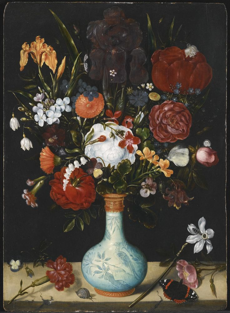Still Life of Roses, Marigolds, Aquilega, Violets, Convolvulus, Hollyhocks,  oil on oak panel, 1600-1605, Ambrosium Bosschaert the Elder (1573-1621)