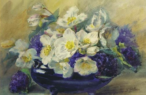 Anemones and Violets in Blue Bowl,  G. Pellerier, late 19th-early 20th century