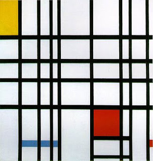 Composition with Red, Blue and Yellow, 1937-42,  Piet Mondrian, oil on canvas. Image courtesy of the Tate Gallery, London