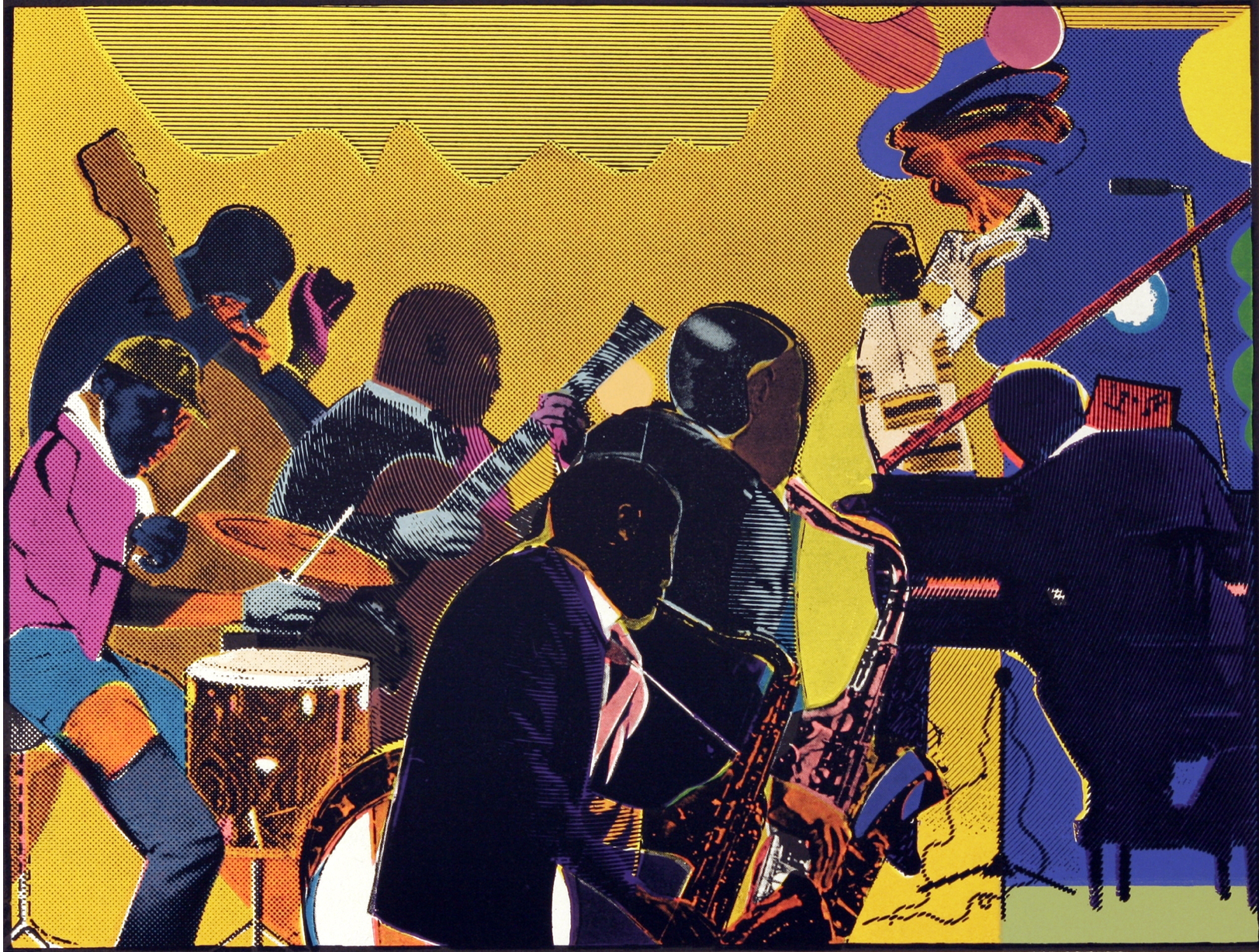 Romare Bearden,  Out Chorus,  1979-80, etching and aquatint (Image courtesy of the Romare Bearden Estate)