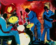 #55 Saxophone Improvisation - 1986, Romare Bearden