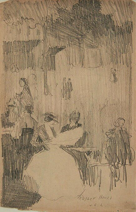 Robert Henri, Images of Figures Sitting at an Outdoor Café, graphite on paper