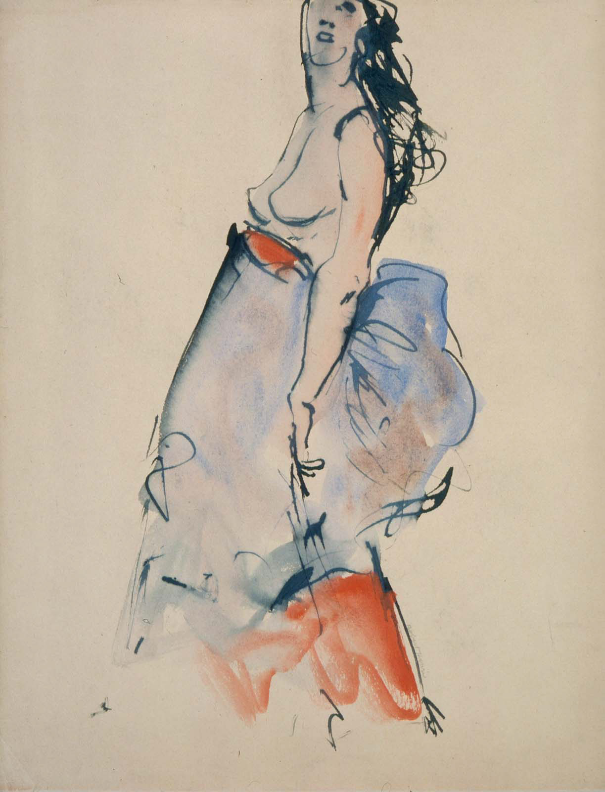 Robert Henri, Nude Model with Blue and Red Skirt, watercolour, (Image courtesy of the Museum of Fine Arts, Boston)