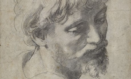 Raphael's Head of an Apostle, a drawing for his last painting, Transfiguration, 1519-20, black chalk (Image courtesy of Sotheby's)