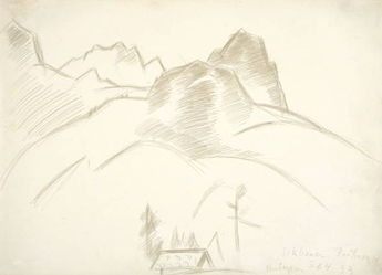 Marsden Hartley,  Mountain Landscape with House in Foreground,  (September 16, 1933). Silverpoint on paper. 14 7/8 x 10 5/8 in. The Huntington Library, Art Collections, and Botanical Gardens. Gift of Michael St. Clair.