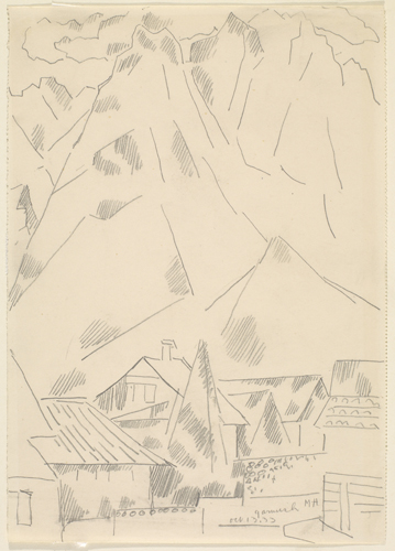 Marsden Hartley, Waxenstein,  (September 13, 1933). Silverpoint on paper. 14 7/8 x 10 5/8 in. The Huntington Library, Art Collections, and Botanical Gardens. Gift of Michael St. Clair.
