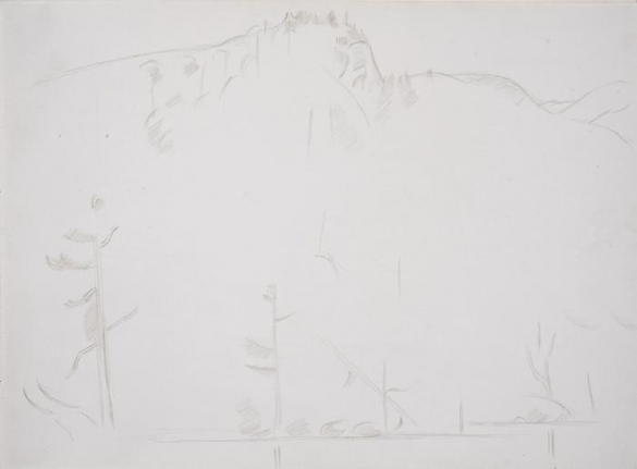 Hills by the Lake, #2, silverpoint on paper, 11 x 15 inches, Marsden Hartley (Image courtesy of the Ownings Gallery)