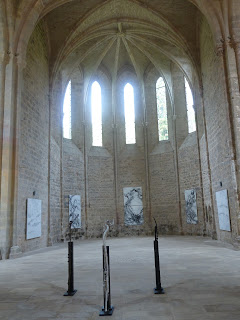 Interior of Abbaye de Beaulieu, with  Odile Cariteau's work displayed (artist's photograph)