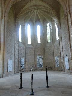 Interior of Abbaye de Beaulieu, with Odile Cariteau's work displayed (artist's photograph)