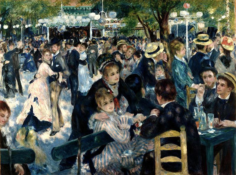 Au Bal du Moulin de la Galette, oil on canvas, Auguste Renoir, 1876, (Image courtesy of the Musée d'Orsay