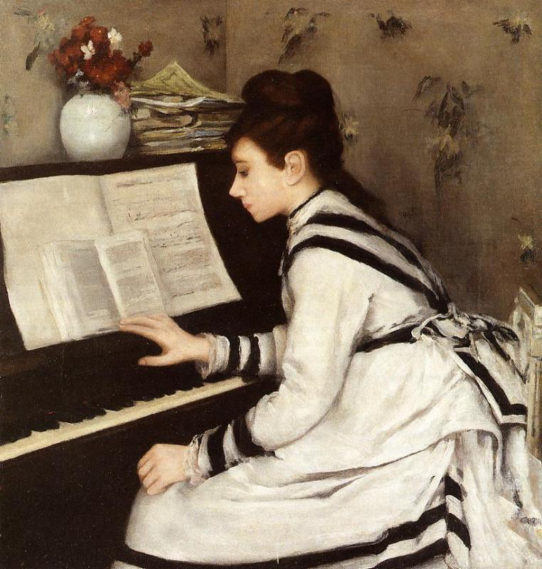 Secretly, oil on canvas, Eva Gonzales, 1877-78, Private Collection