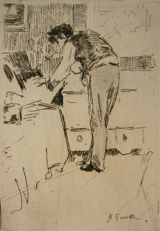 Henri  Guérard  Consulting a Collection of Prints, Norbert Goeneutte, 1876