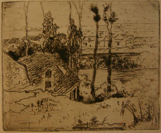 Auvers-sur-Oise vue depuis Chaponval  , etching, Norbert Goeneutte