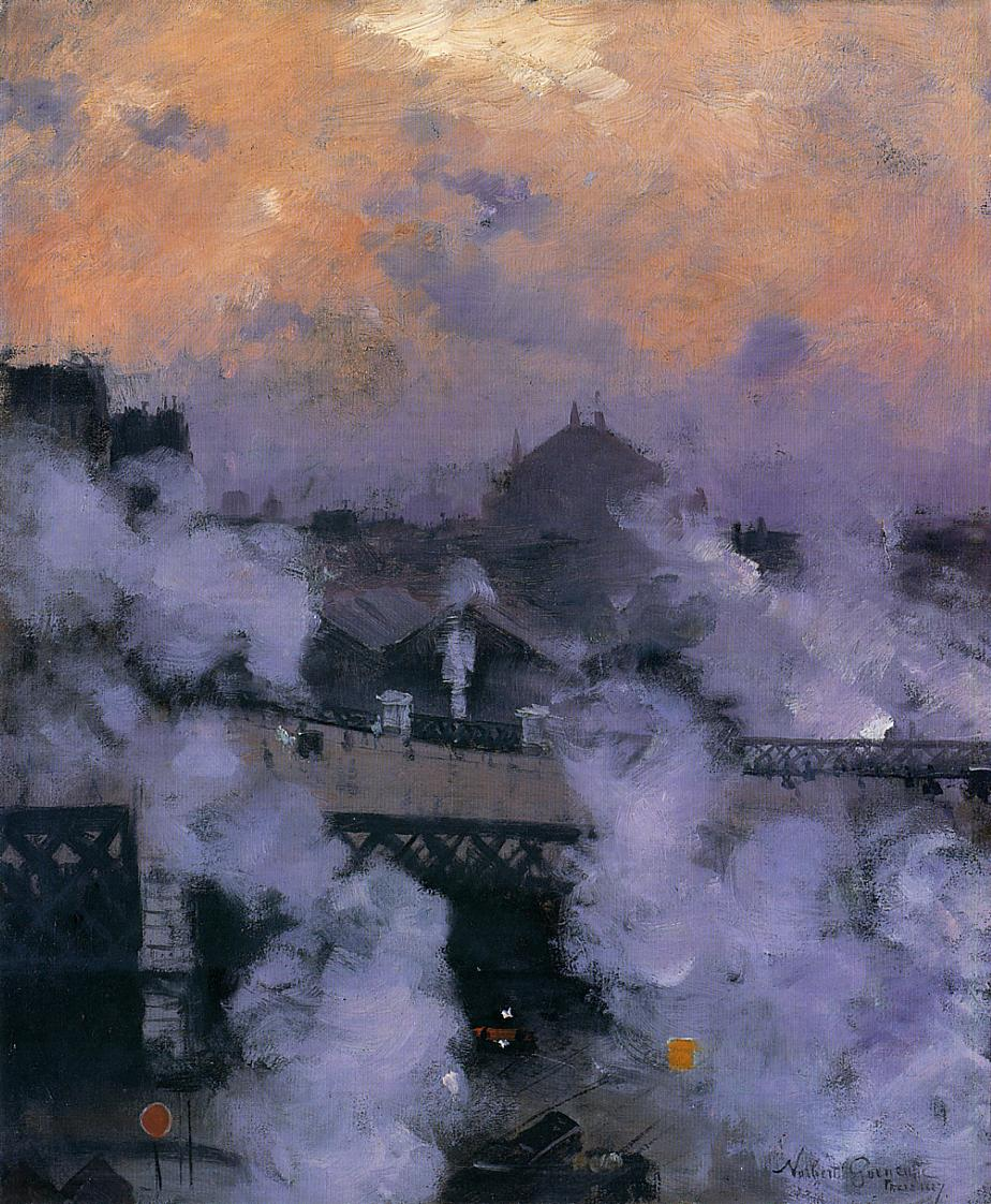 The Pont de l'Europe at Night, 1887, oil on canvas, Norbert Goeneutte, Private collection