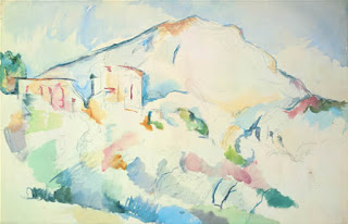 Château Noir devant la montagne Sainte-Victoire  1890-1895, Paul Cézanne ,watercolour, and pencil on white paper, (Image courtesy of Albertina, Vienna)