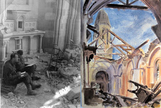 A photograph of  some of the men painting, and  one of the watercolours,  Church at Trevières  (Image courtesy of Ghost Army. org)