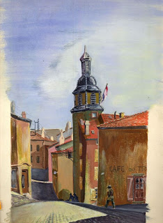 Small French Town, 1944,  watercolour, Tony Young