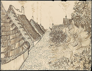 Street in Saintes-Maries,  June 1888, reed pen and ink on paper