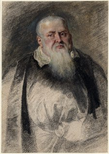 Dr. Theodore de Mayerne,  oil and black chalk, with grey wash, c. 1631, Peter Paul Rubens.  Image courtesy of the British Museum