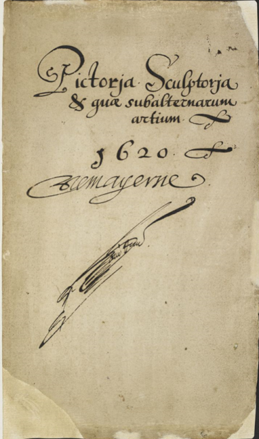 The hand-written title page of the Mayerne manuscript, 'Pictoria, sculptoria et quae subalternarum artium', England (London), 1620-1646,