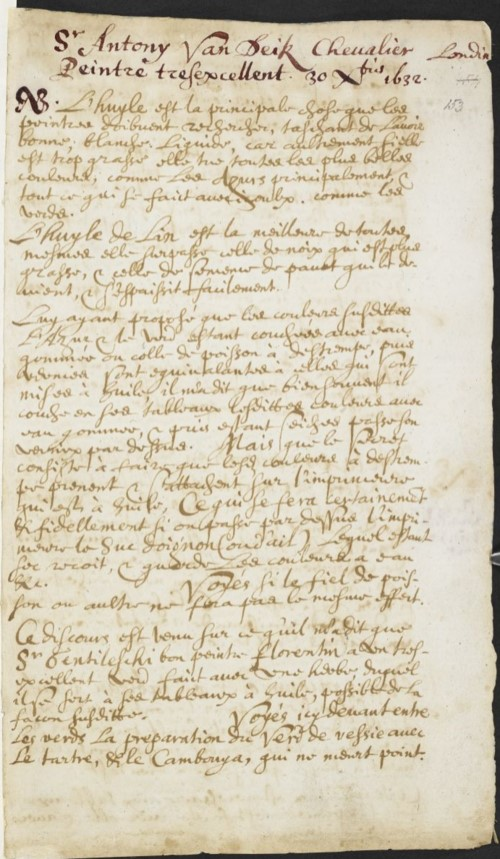 Mayerne's notes on oil, taken from Anthony van Dyck,