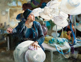 New Year  ,  watercolour painting of a milliner from Atlanta, GA; 2009, 22 1/2 x 29 ,  image courtesy of Mary Whyte