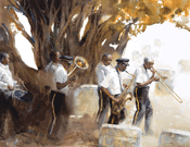 Pilgrimage . Funeral band, Miami, FL. watercolour, 2009, 39 x 48, image courtesy of Mary Whyte