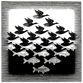 "M.C. Escher's 1938 woodcut entitled ""Sky and Water 1"""
