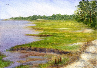 High Point, Sapelo Island, watercolour, Jeannine Cook artist
