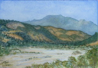 The Sarmento dry river bed, 2012, watercolour, Jeannine Cook artist