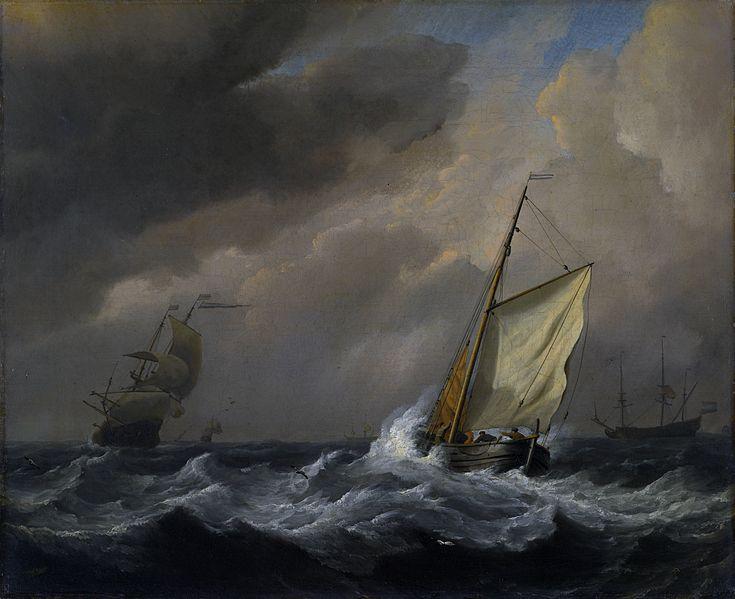 Small Dutch Vessel close-hauled in a Strong Breeze . W. van der Velde, circa 1672.  (Image courtesy of The National Gallery, London)