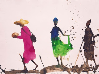 Marche de Shange, la Jupe Verte  (the Green Skirt),  mixed media, 2000, Miguel Barceló (image courtesy of the website of Paola Curti/Annamaria Gambuzzi & Co)