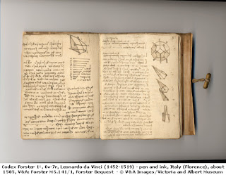 Leonardo da Vinci, diary, Image courtesy of the Victoria and Albert Museum, London