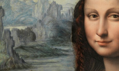 A detail of the nearly conserved Leonardo da Vinci pupil's take of the Mona Lisa. The Prado has yet to finish conservation work on the whole painting. Photograph: Museo Nacional del Pradio