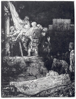 Rembrandt's 1654 etching,  The Descent from the Cross