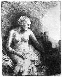The Woman before a Dutch Stove,  Rembrandt, 1658 etching