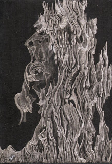 Flames of Oak,  silverpoint, Jeannine Cook artist