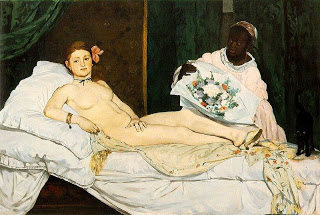 Olympia , Edouard Manet, 1863, (Image below courtesy of the Musee d'Orsay)