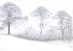 At the Top of the Hill, Le Vicomte-sur-Rance,   silverpoint, Jeannine Cook artist