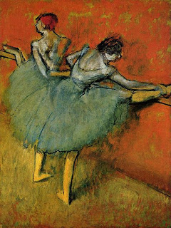 Dancers at the Barre , c. 1888 oil painting, E. Degas, (Image courtesy of the Phillips Collection, Washington, DC.)