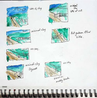 Thumbnail drawings of landscape (Image courtesy of Marion Boddy-Evans. (Licensed to About.com, Inc.)