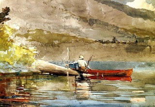 The Red Canoe,  1889, watercolour, Winslow Home (Image courtesy of the Peabody Art Collection, Baltimore, Maryland)