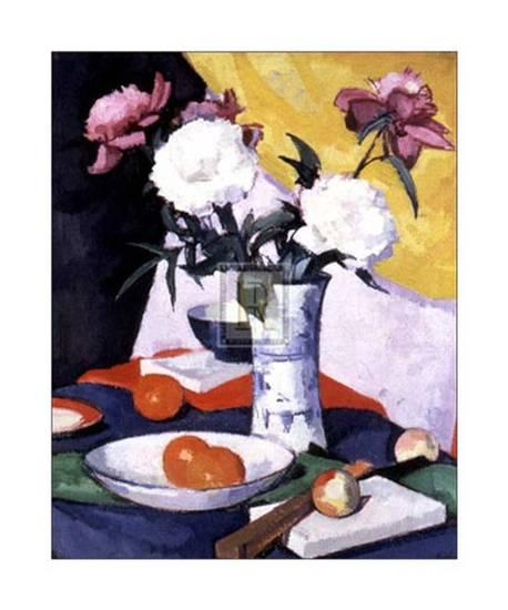 Still life -   Peonies and Fruit , Samuel John Peploe