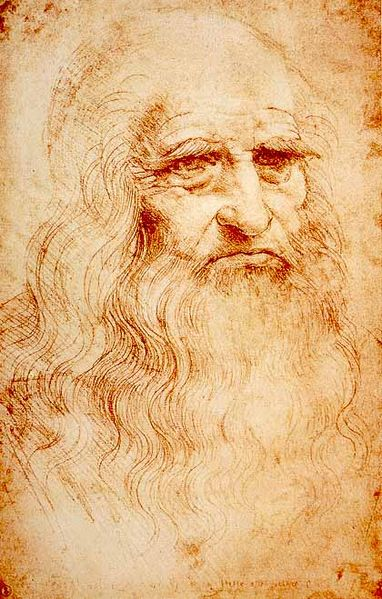 Self-Portrait, Leonardo da Vinci, 1512-15 in red chalk drawing (Image courtesy of the Royal Library of Turin)